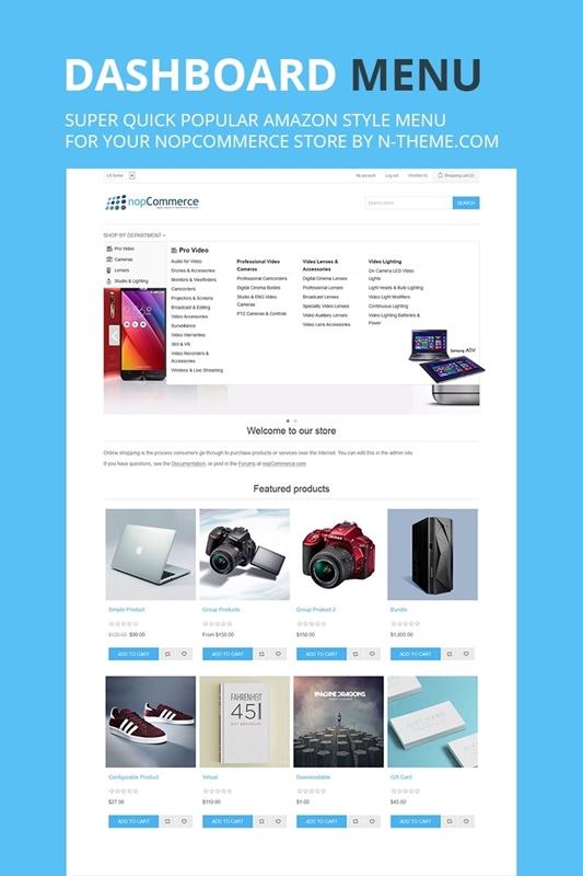 NopCommerce Dashboard Amazon Style Menu